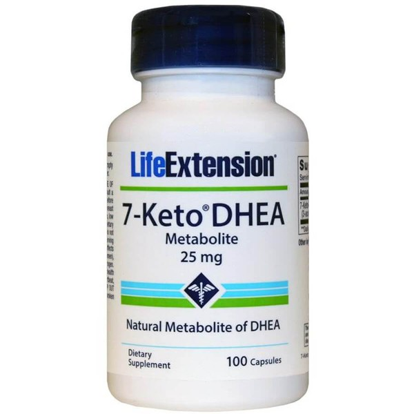 7- KETO DHEA, Life Extension, 25 mg, 100 Capsulas