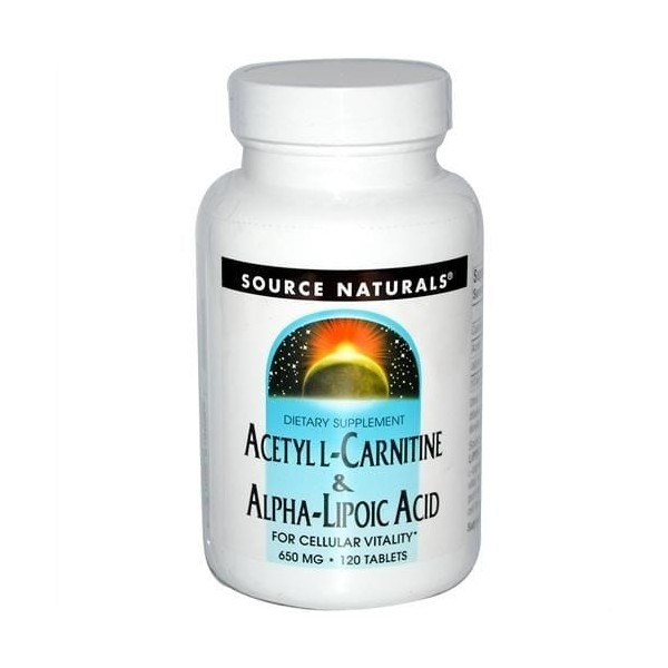 Acetyl L-Carnitina e Ácido Alfa-Lipóico - Source Naturals - 650 mg - 120 Tablets