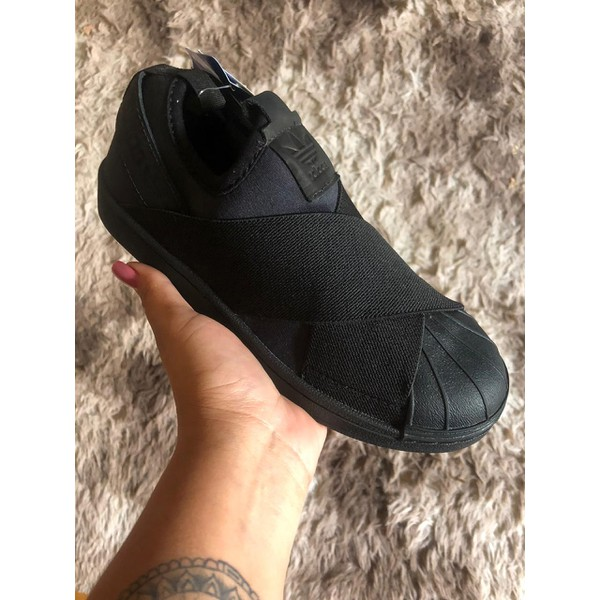 Tenis Adidas Superstar Slip On Preto Inteiro - Original