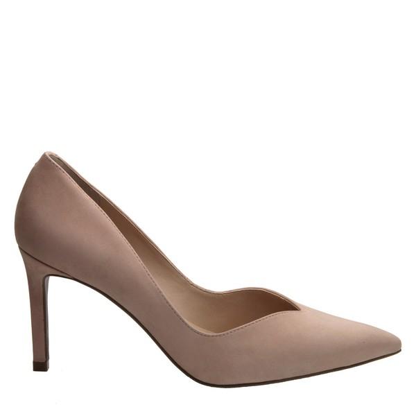 Sapato Scarpin Salto Alto Fino Nobuck Nude