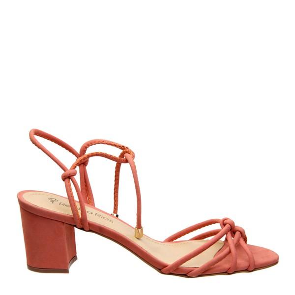 Sandália com Tiras Couro Nobuck Coral