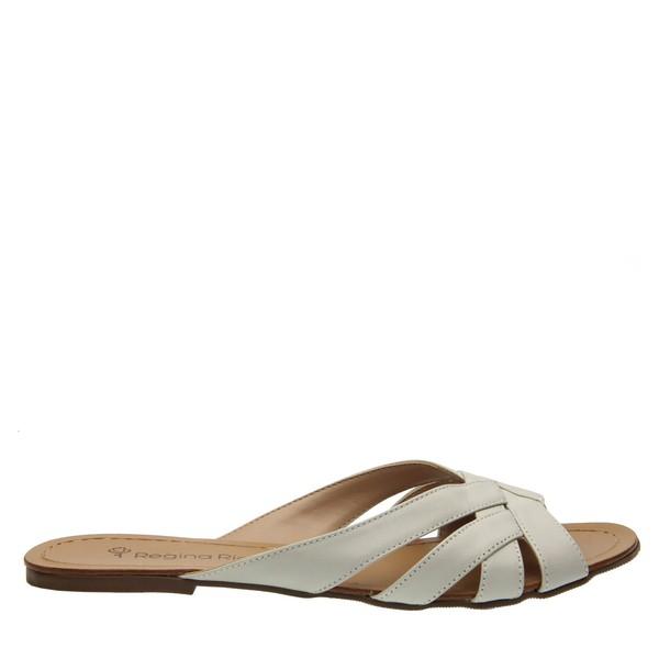 Sandália com Recortes Off White