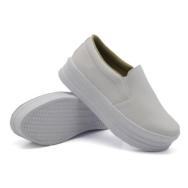 Slip On Liso Sola Alta Branco DKShoes