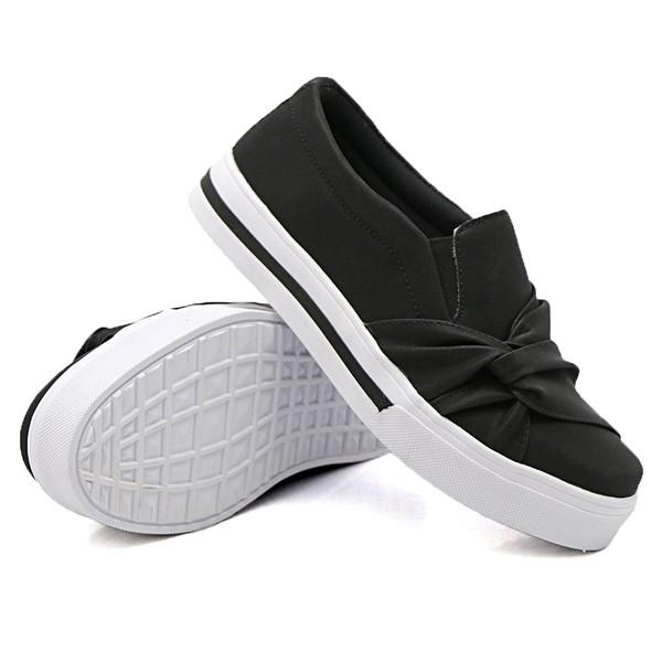 Slip On Nó Lateral Listra Preto DKShoes