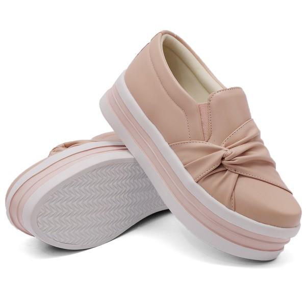 Slip On Nó Lateral Sola Alta Rosê DKShoes