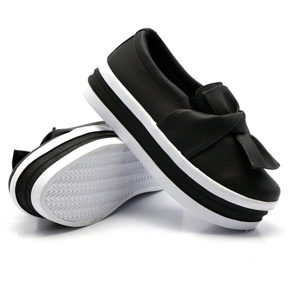 Slip On Laço Sola Alta Preto DKShoes