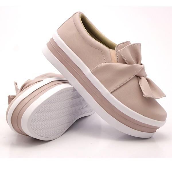 Slip On Laço Sola Alta Rosê DKShoes