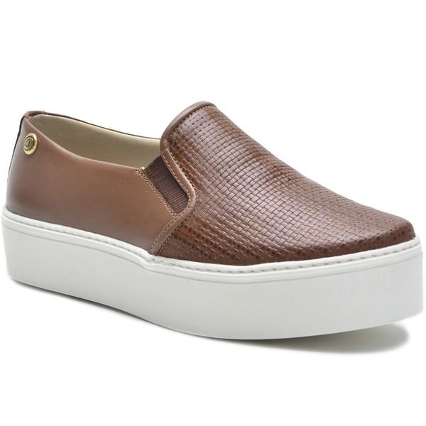 Sapato Slip On em Couro Marrom Trama Ana Flex