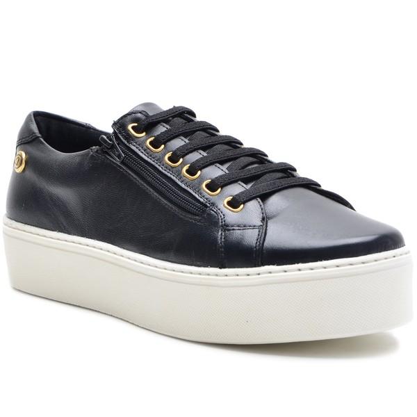 Sapato Slip On em Couro Preto com zíper
