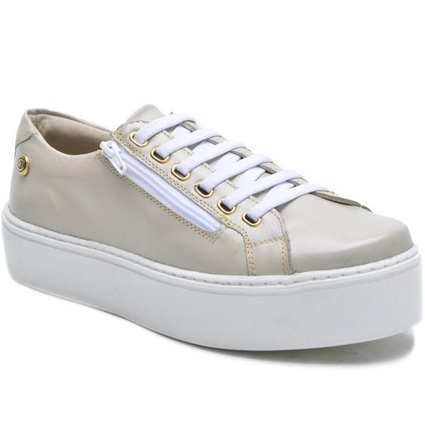 Sapato Slip On em Couro Marfim com zíper