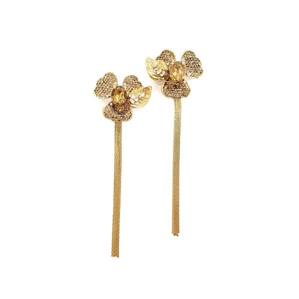 Brincos Flores Douradas com Franjas
