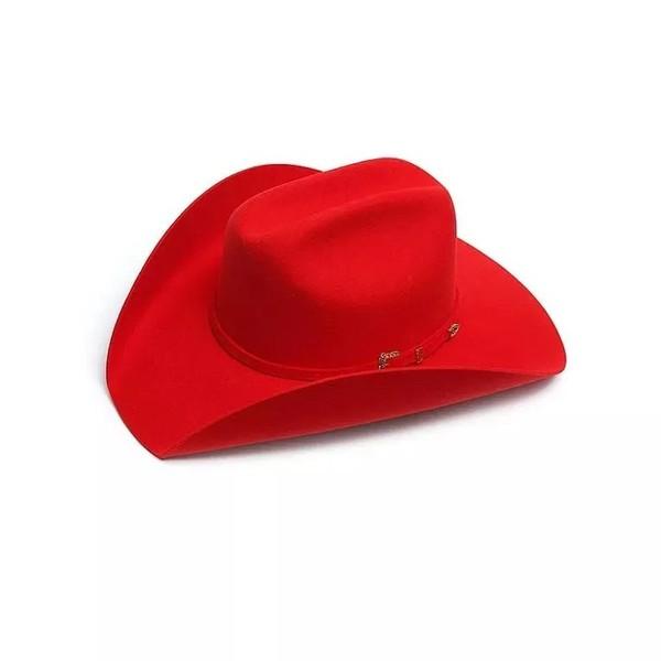 -Chapéu Country Pralana Bareback Vermelho , 100% Feltro ,Tamanho da Aba 10 cm ,Tamanho da Copa - 10,5 c , Chapéu sem Forro,Carneira em Recouro