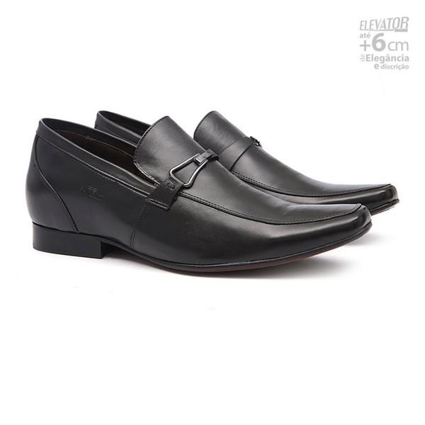 Sapato Clássico Masculino Elevator Derby Del Preto Samello
