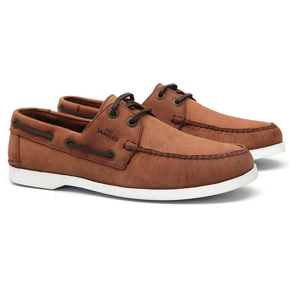 Deckshoes Masculino Jery Dark Brown Samello