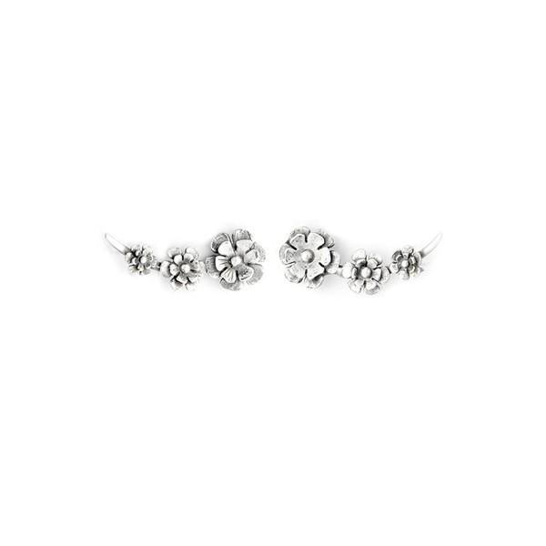 Brinco Ear Cuff em Prata 925 Oxidada - Flowers | Coleção Flora