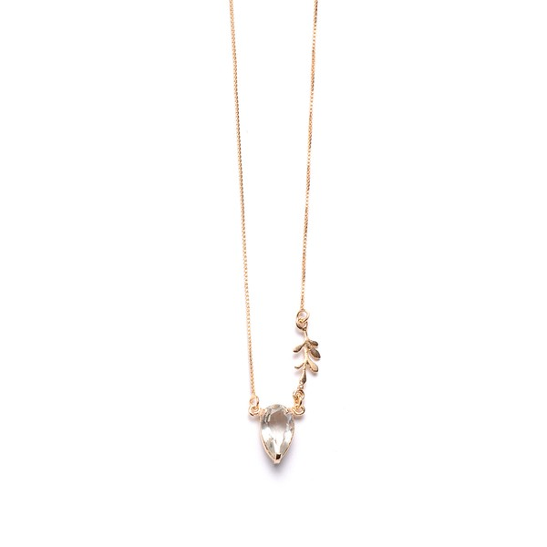 Colar Em Prata 925 Com Prasiolíta Natural - Luz Gota Arruda Silver | Coleção Tribus