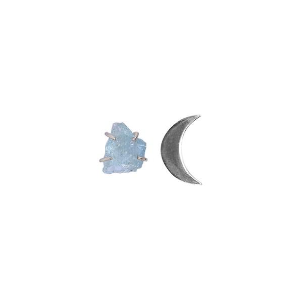 Brinco Meia Lua Com Água Marinha|coleção Ártemis
