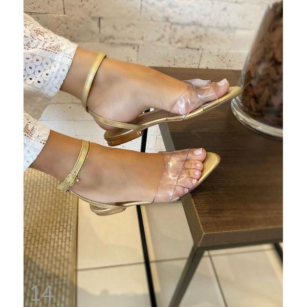 Sandália Dourada Com Transparência Em X