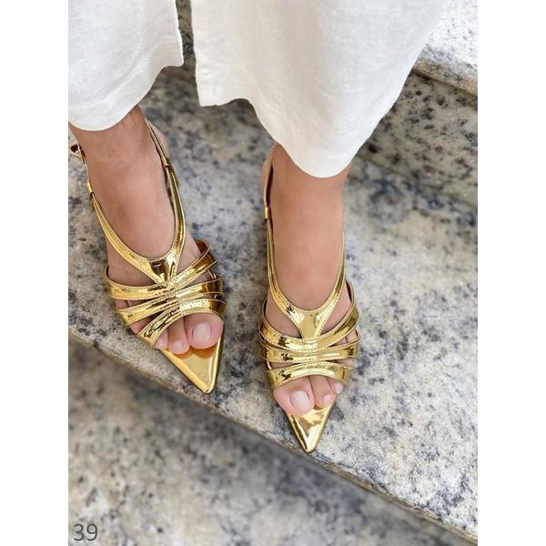 Sandália Dourada Metalizada Com Tiras