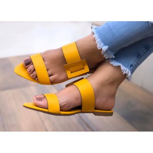 Sandália Rasteira Amarela Bico Fino Com Fivela