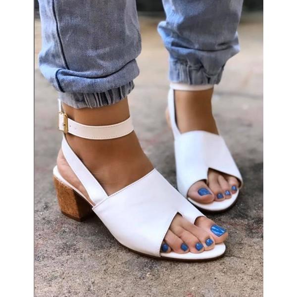 Sandália Branca Lado/Dedo