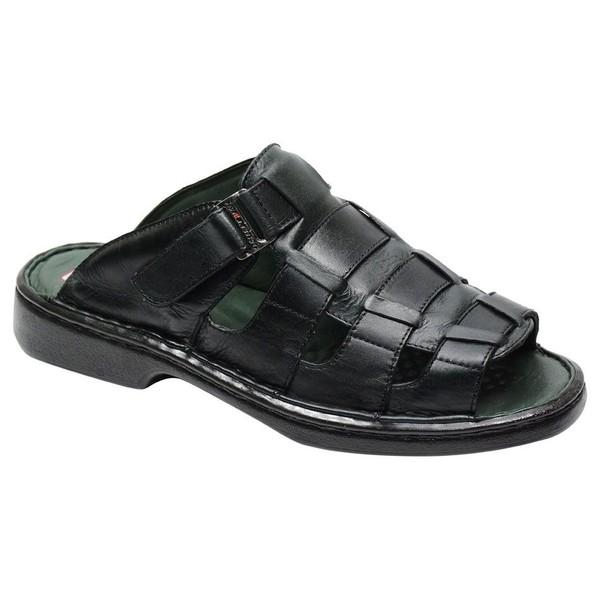 Sandália / Chinelo Conforto Levíssima Em Couro Cor Preto Ref. 1039-3025
