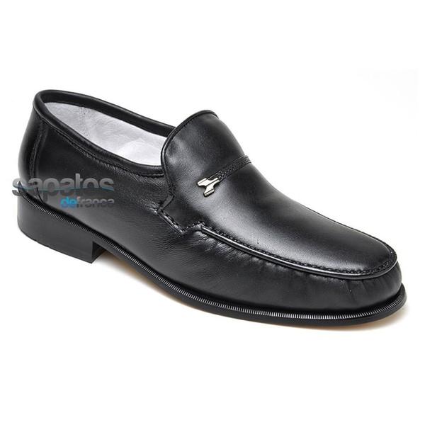 Sapato Mocassim Clássico Em Couro Cor Preto Ref. 313-01