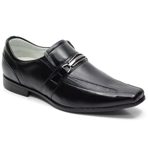 Sapato Social Tipo Italiano Em Couro Cor Preto Ref. 706-030