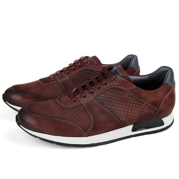 Sapato Casual Jogging em Couro Vinho