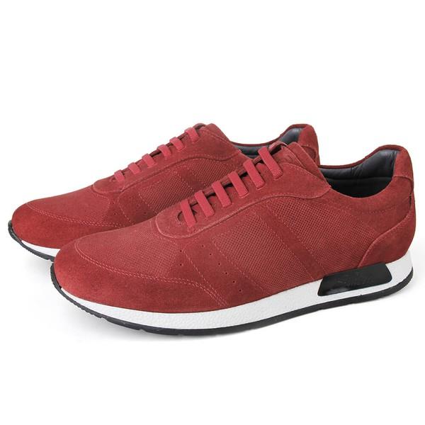 Sapato Casual Jogging Em Couro Vermelho Savelli