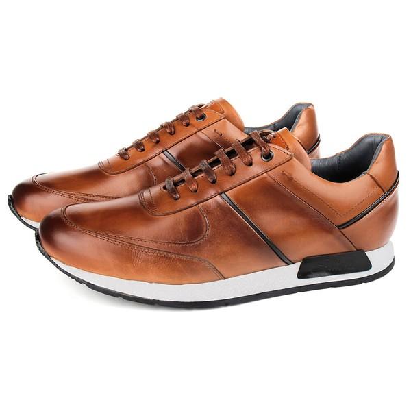 Sapato Casual Jogging em Couro Tan Savelli