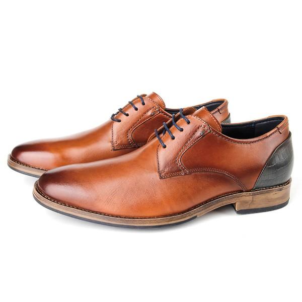 Sapato Masculino Vulcano em couro para uso casual ou social, cor havana.