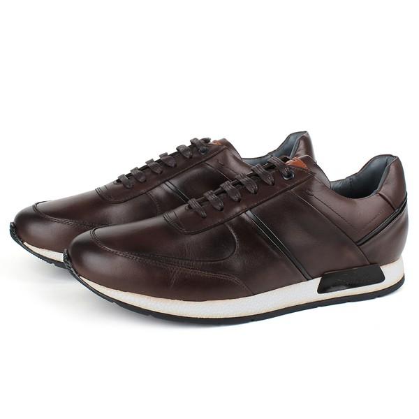 Sapato Casual Jogging em Couro Café/Preto