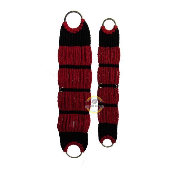 Barrigueira em Lã Torcida Preto com Vermelho e Argolas em Aço inox