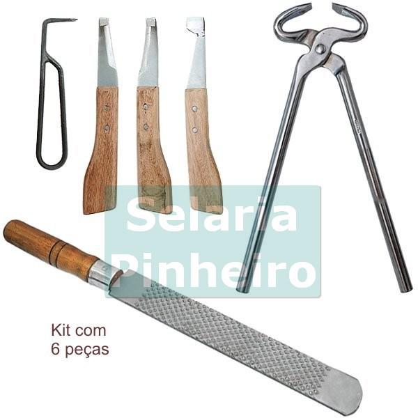 Kit para Ferrar e Casquear c/ Torquês Cromada + Grosa BJ30 + Kit de Rinetes BJ30 (Total 6 peças)
