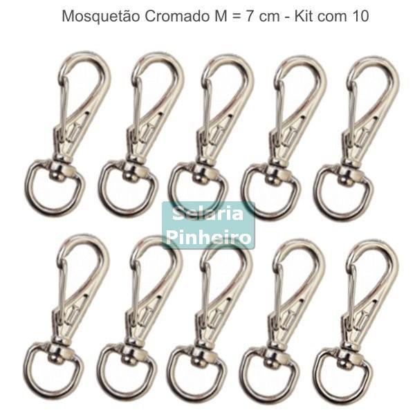 kit 10 Mosquetões Cromados P (7 cm)