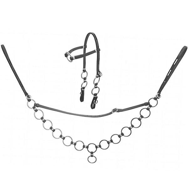Conjunto de Cabeçada e Peitoral Tradicional - Argolado Inox (Preto)