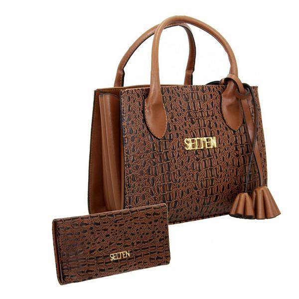 Bolsa + Carteira Selten Handbag Sanfonada Feminina Marrom