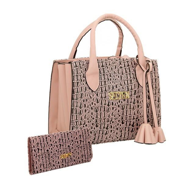 Bolsa + Carteira Selten Handbag Sanfonada Feminina Salmão