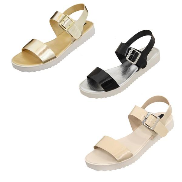 Kit Sandálias de Tira - Selten - 3 sandálias nas cores preta, dourada e nude