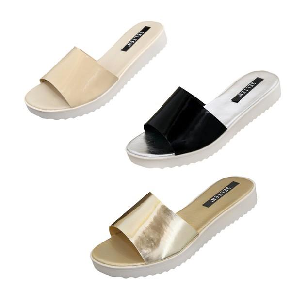 Kit Chinela Slide - Selten - 3 chinelas nas cores creme, preta e dourada