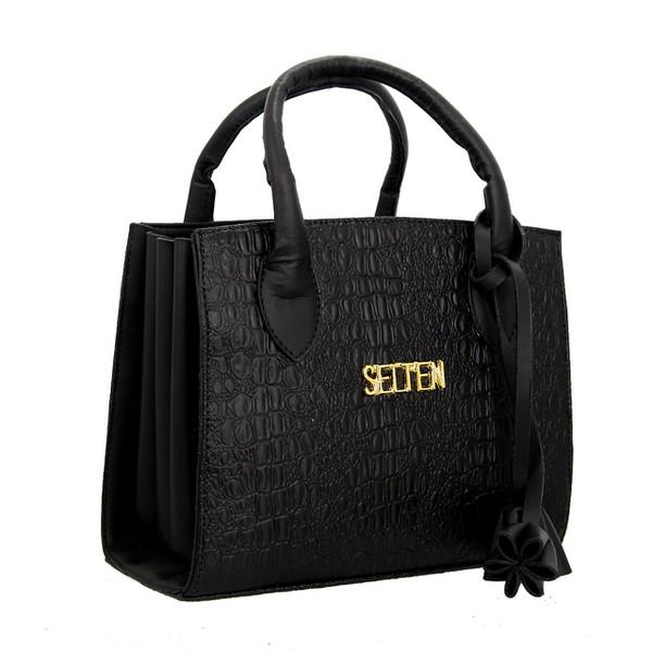 Bolsa Selten Handbag Sanfonada Feminina Preta