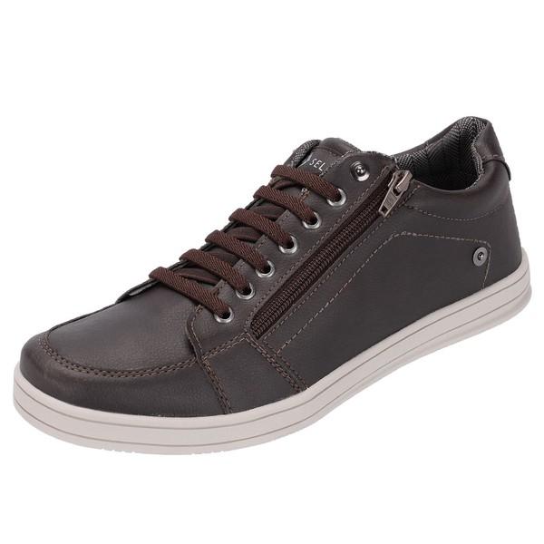 Sapato Casual Masculino Marrom com Zíper Lateral