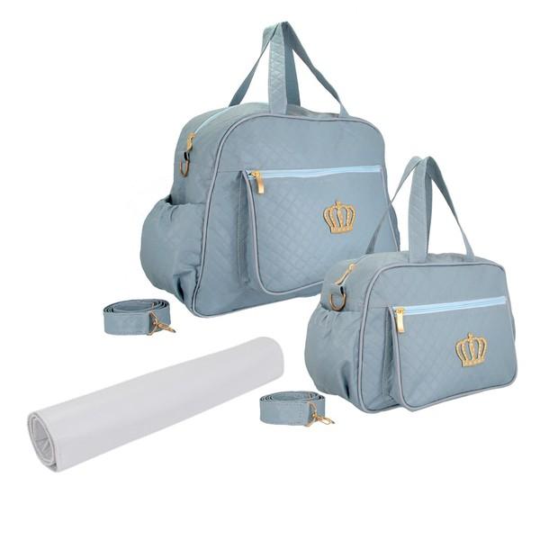 Kit Bolsa Maternidade Com Trocador Bebê Azul Claro