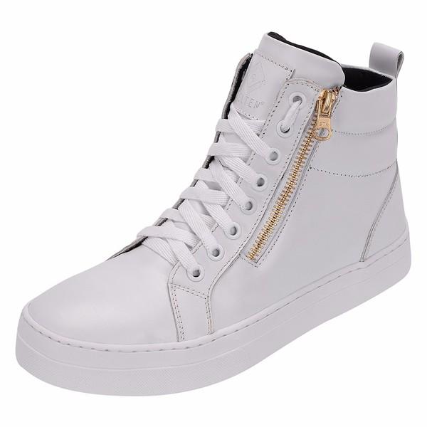 Bota Treino Academia Sneaker Branca em Couro Legítimo - Selten