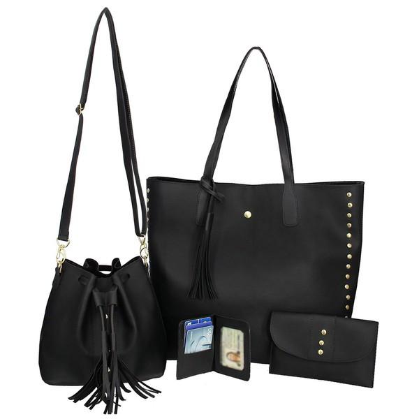 Kit de Bolsa Feminina Preto Saco com Bolsa Grande com Carteira e Porta Cartão