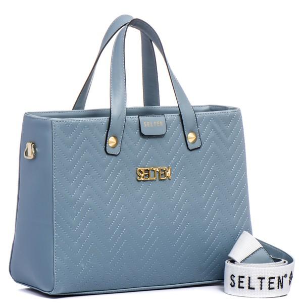Bolsa Feminina Selten de Mão com Alça Transversal Azul