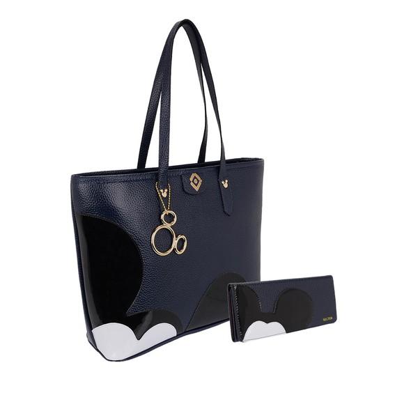 Bolsa + Carteira Mickey G Azul Escuro