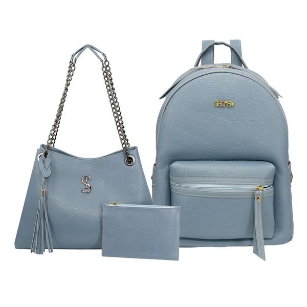 Kit de Bolsa Feminina Com Bolsa de Ombro Milão e Mochila Azul - Selten