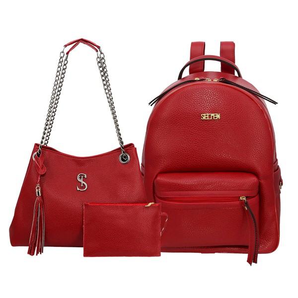 Kit de Bolsa Feminina Com Bolsa de Ombro Milão e Mochila Vermelha - Selten